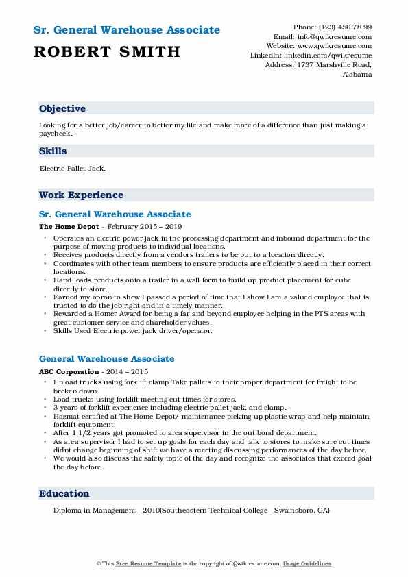 Sr. General Warehouse Associate Resume Sample