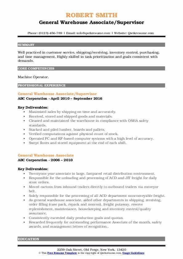 General Warehouse Associate/Supervisor Resume Sample