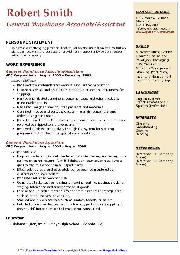 General Warehouse Associate/Assistant Resume Model