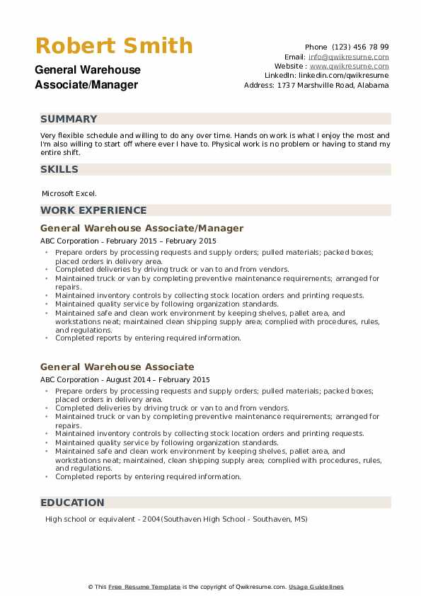 General Warehouse Associate/Manager Resume Template