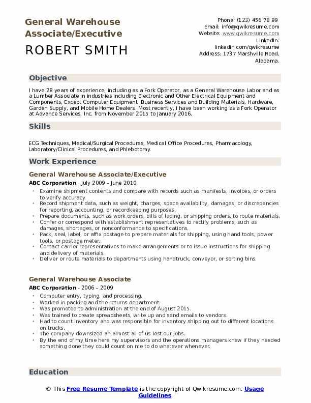 General Warehouse Associate/Executive Resume Sample