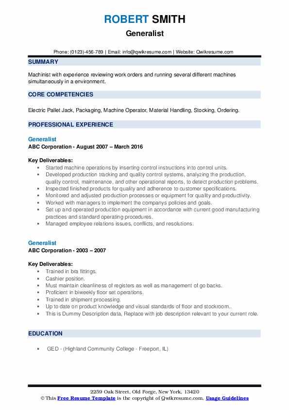 Generalist Resume example