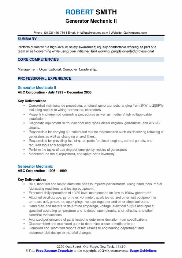 Diesel generator mechanic resume how to write a conclusion for a research paper