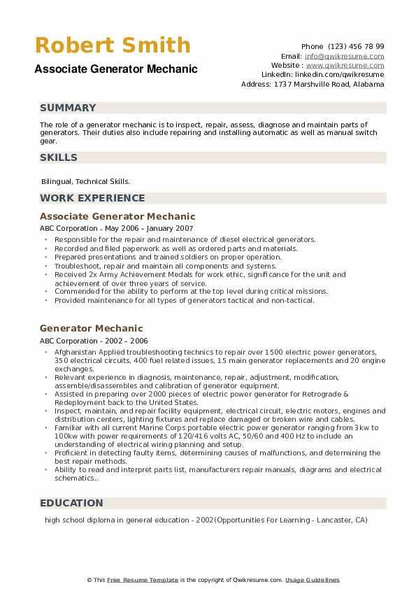 Generator Mechanic Resume Samples Qwikresume