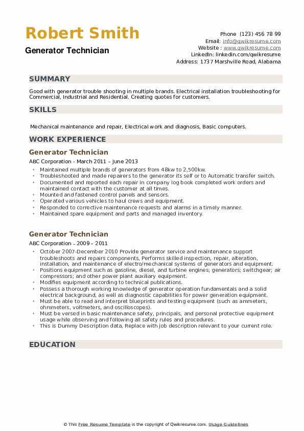 Generator Technician Resume example