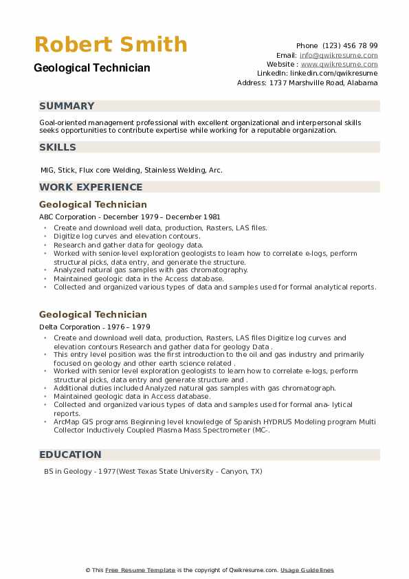 Geological Technician Resume example