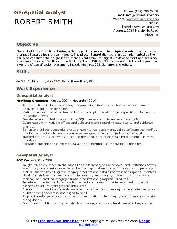 Geospatial Analyst Resume Template