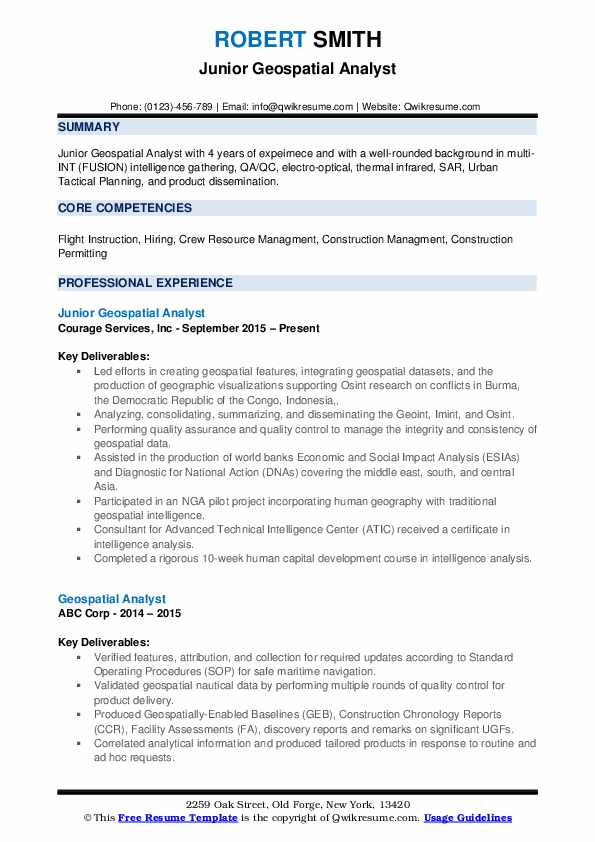 geospatial analyst resume samples