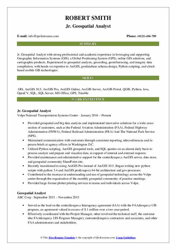 Jr. Geospatial Analyst Resume Model