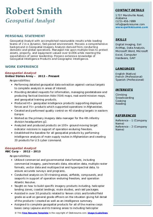 Geospatial Analyst Resume Example