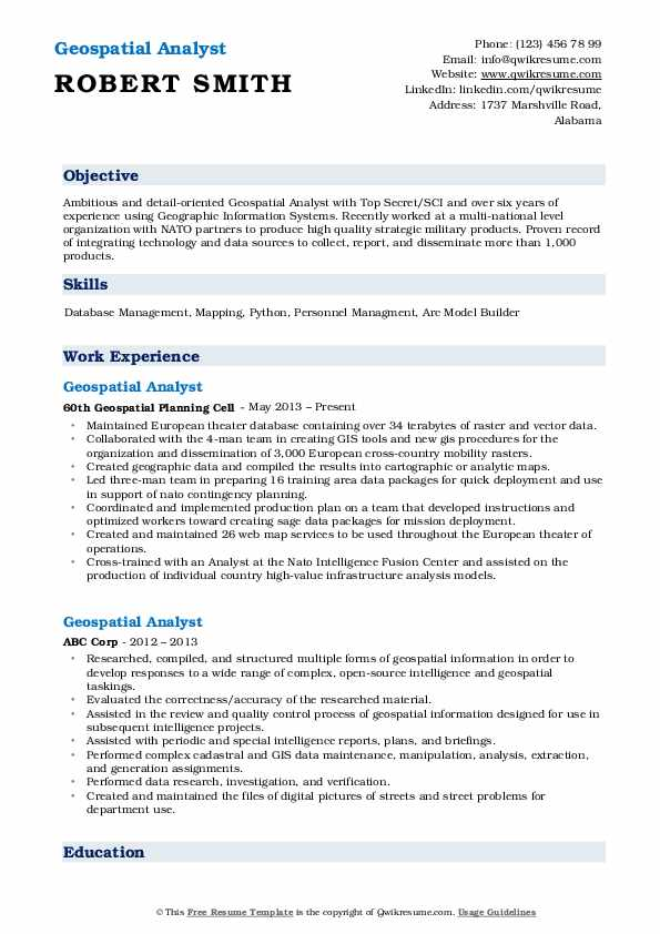 Geospatial Analyst Resume Format