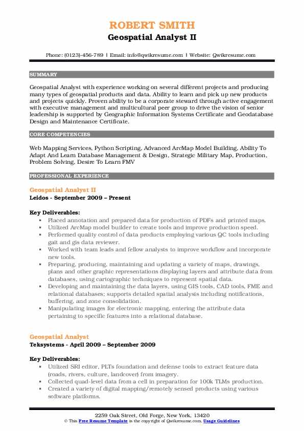 Geospatial Analyst II Resume Sample