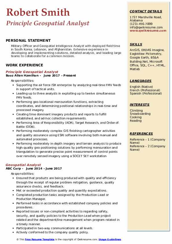 Principle Geospatial Analyst Resume Format