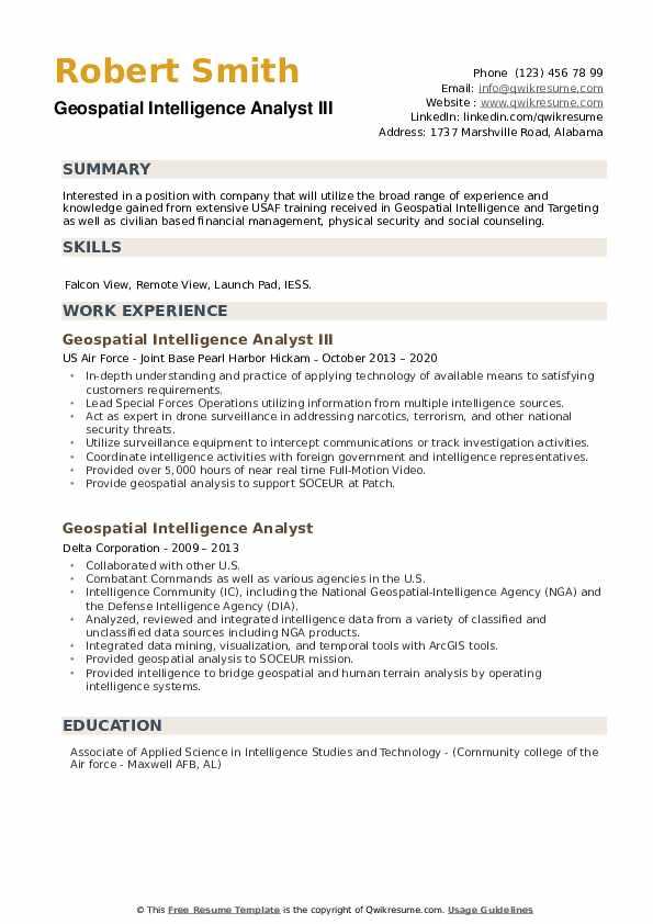 Geospatial Intelligence Analyst Resume example