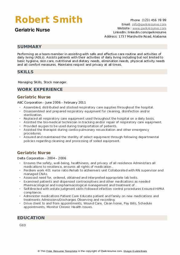 Geriatric Nurse Resume example