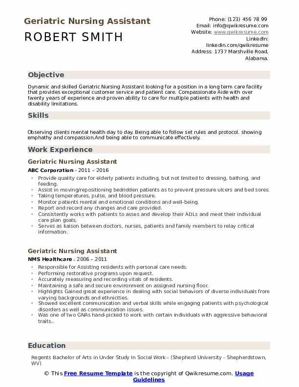 Geriatric Nursing Assistant Resume Samples Qwikresume