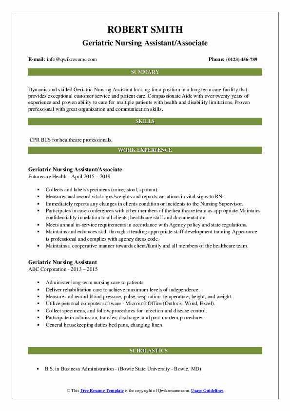 Geriatric Nursing Assistant/Associate Resume Sample
