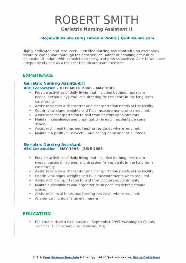 Geriatric Nursing Assistant II Resume Format