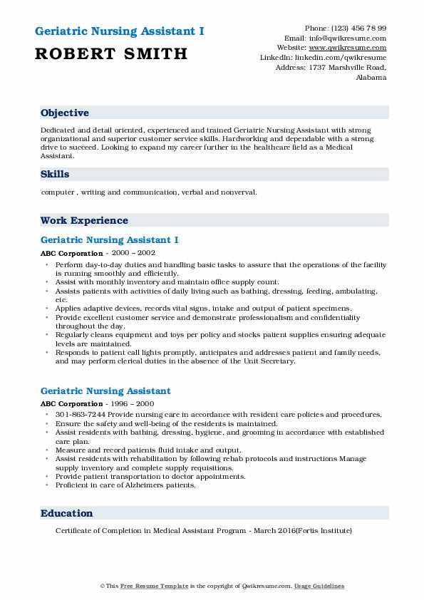 Geriatric Nursing Assistant I Resume Format