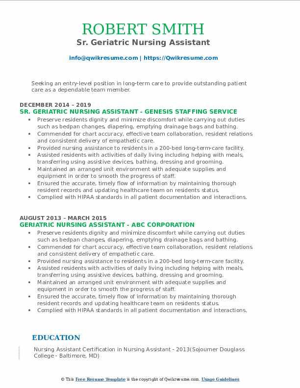Sr. Geriatric Nursing Assistant Resume Model