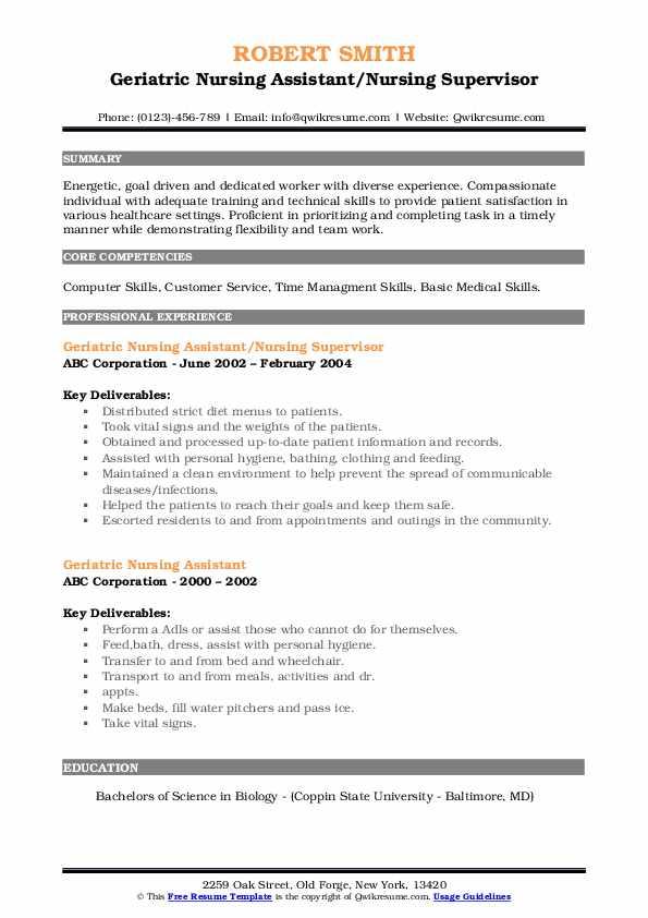 Geriatric Nursing Assistant/Nursing Supervisor Resume Template
