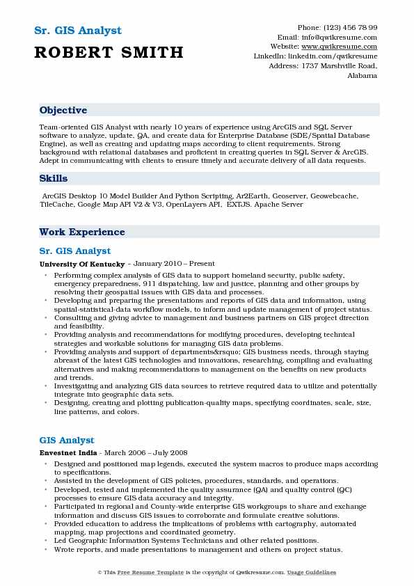 gis analyst resume samples qwikresume