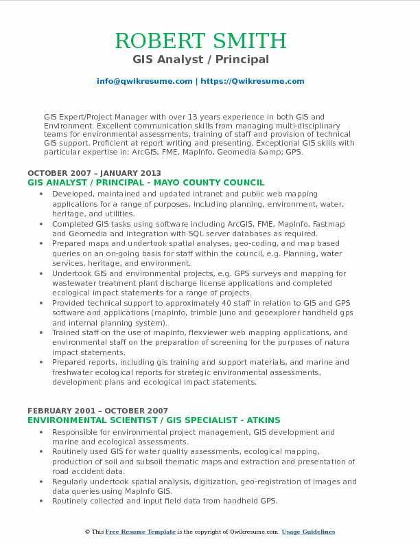 GIS Analyst / Principal Resume Sample