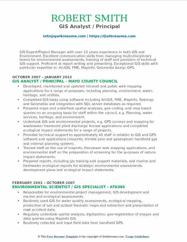 GIS Analyst / Principal Resume Format