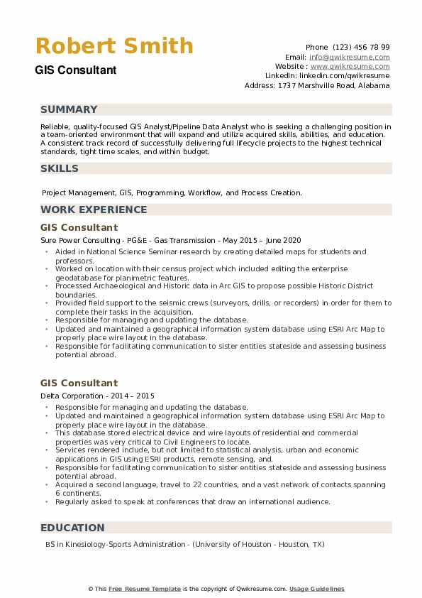 GIS Consultant Resume example