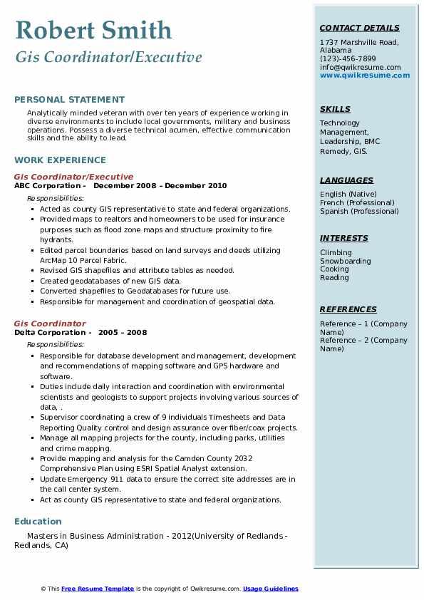 gis coordinator resume samples  qwikresume