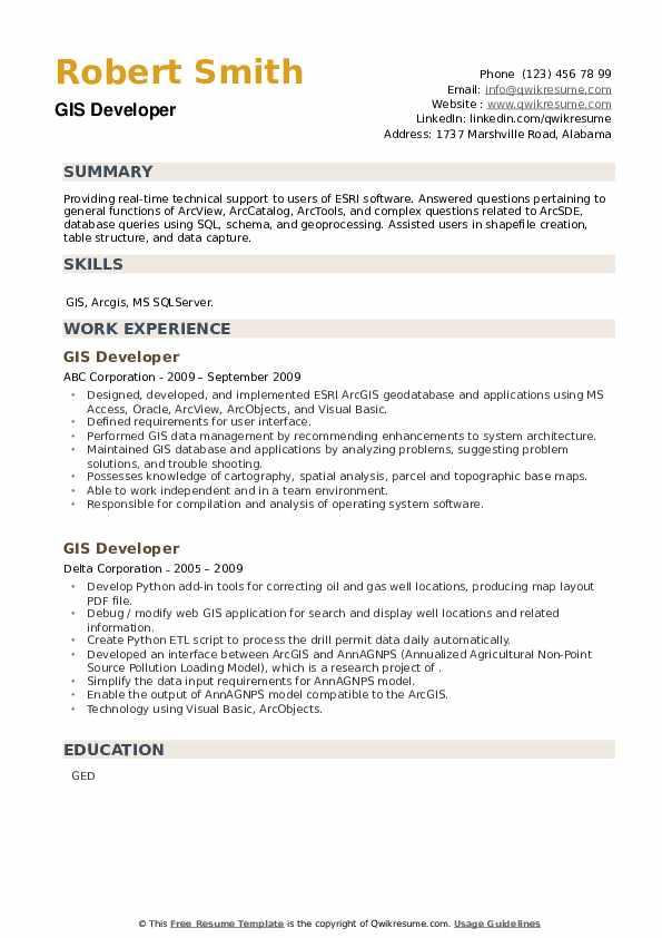 GIS Developer Resume example