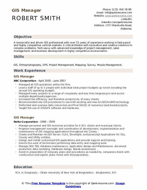 gis manager resume samples  qwikresume