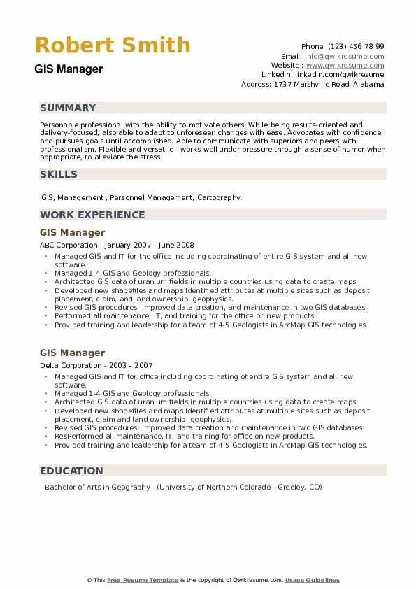 GIS Manager Resume example