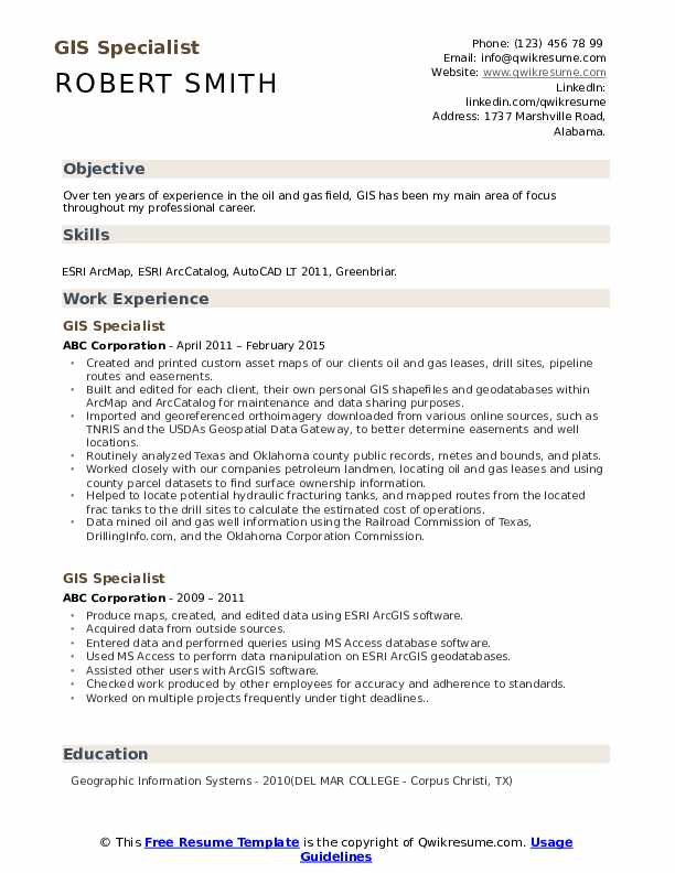 GIS Specialist Resume Template