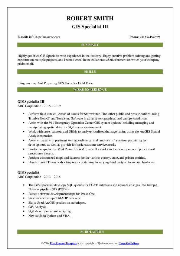 GIS Specialist III Resume Template