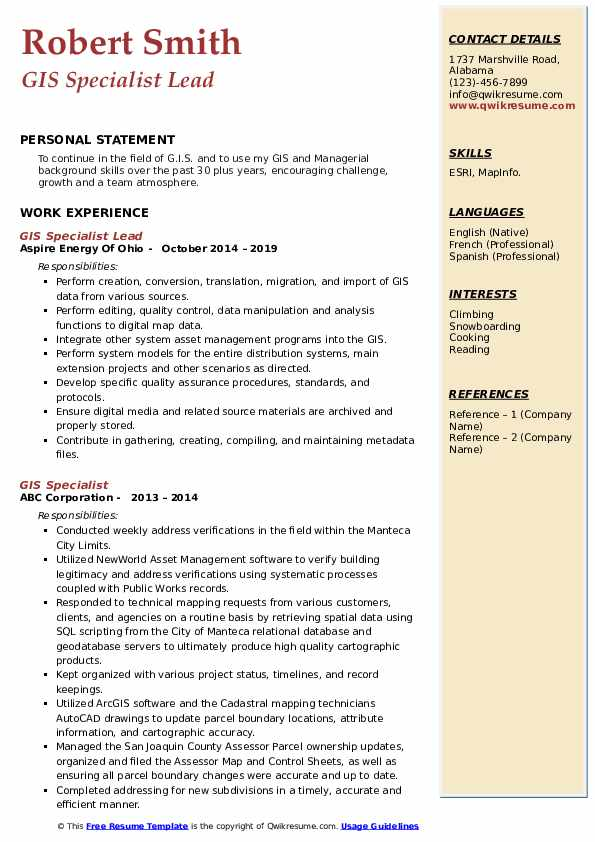 GIS Specialist Lead  Resume Template