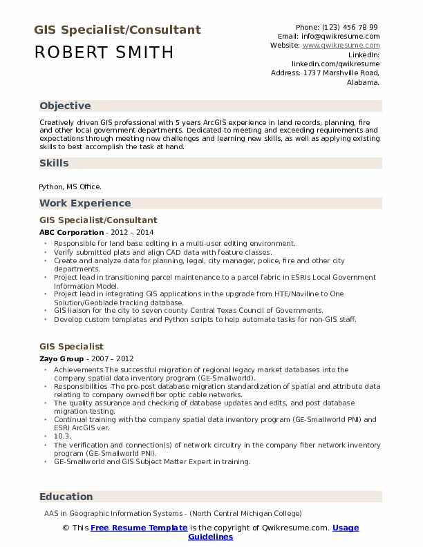 GIS Specialist/Consultant Resume Model