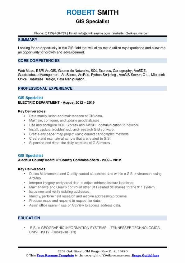 GIS Specialist Resume example