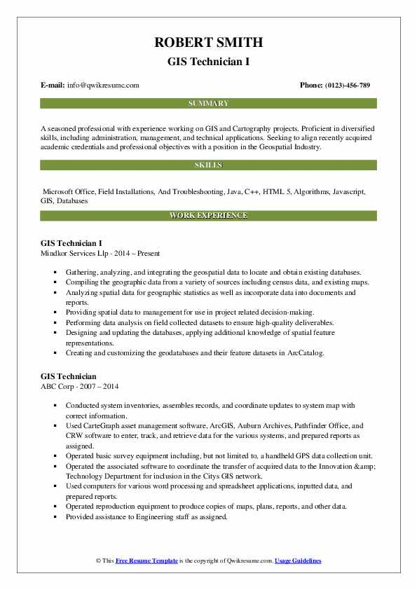 GIS Technician I Resume Example
