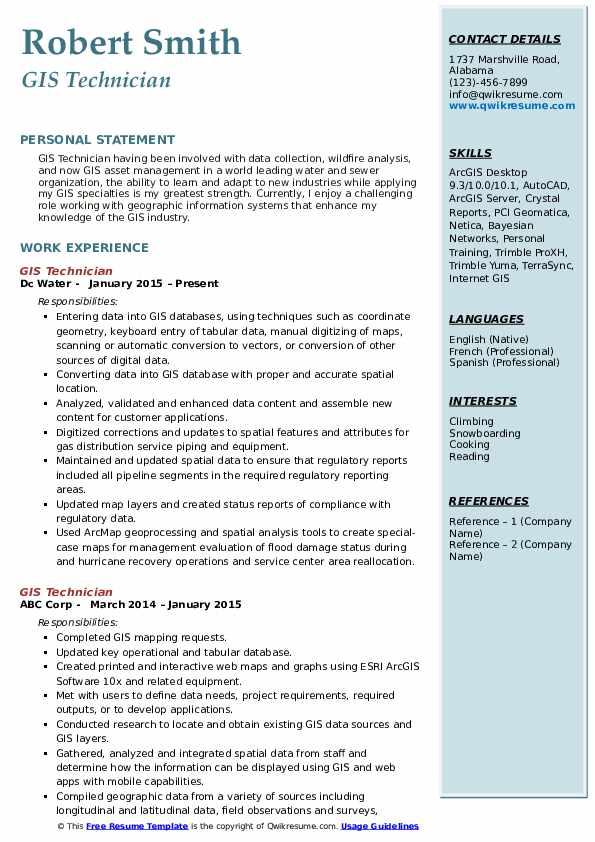 GIS Technician  Resume Sample