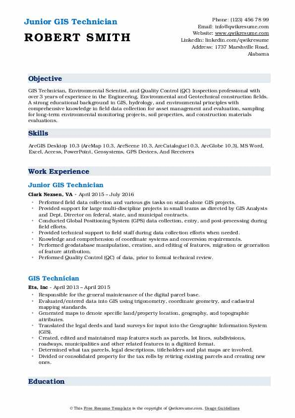 Junior GIS Technician Resume Example