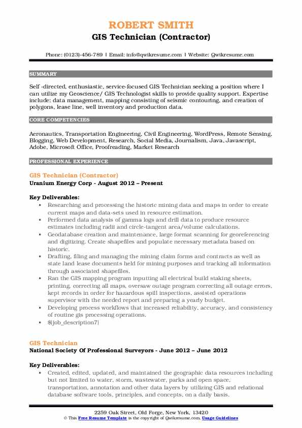 GIS Technician (Contractor) Resume Model