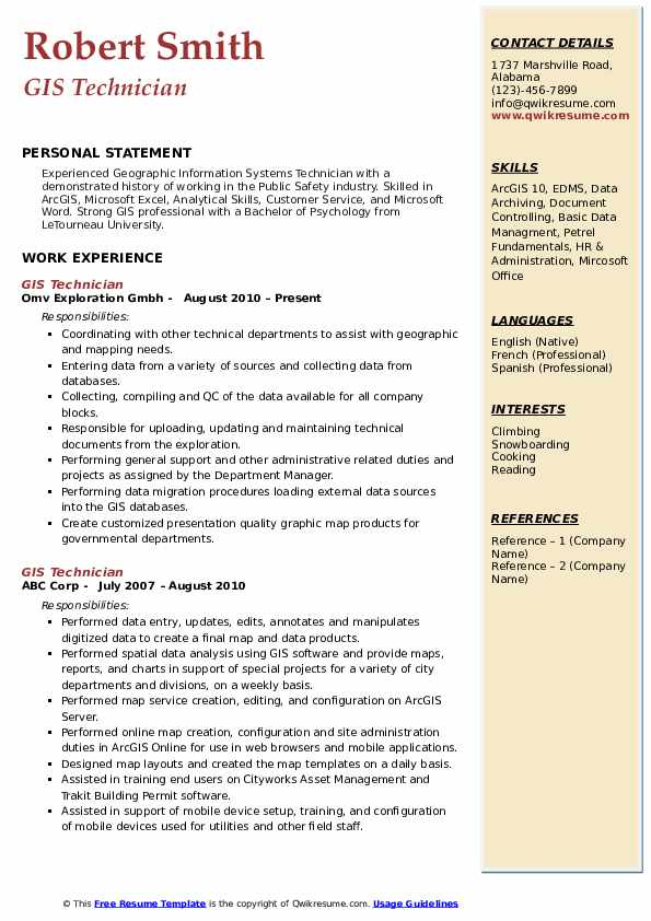 Gis Technician Resume Samples Qwikresume