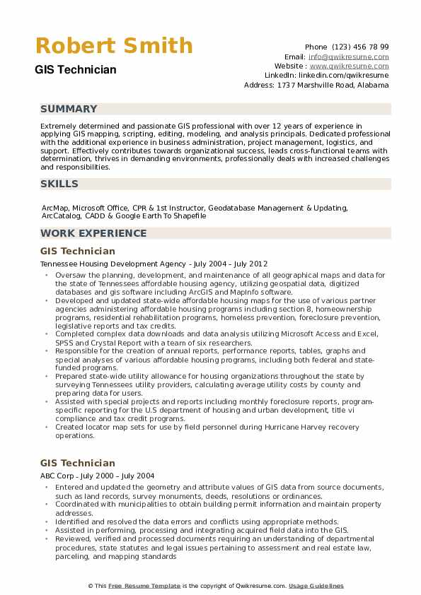 GIS Technician Resume example