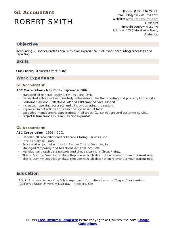 Gl Accountant Resume example