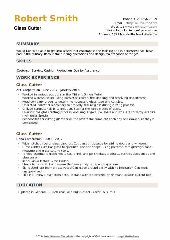 Glass Cutter Resume example