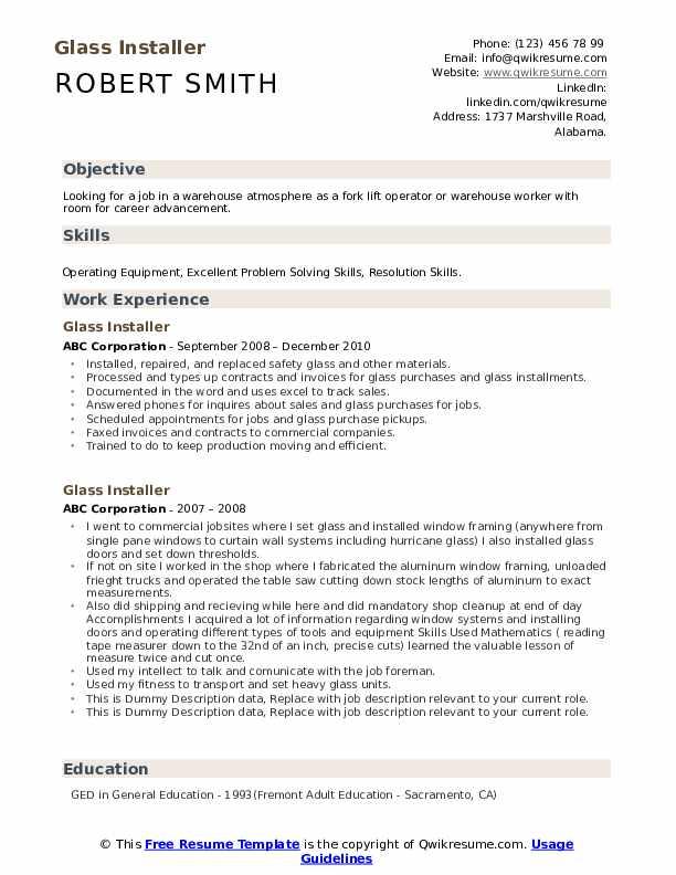 Glass Installer Resume example