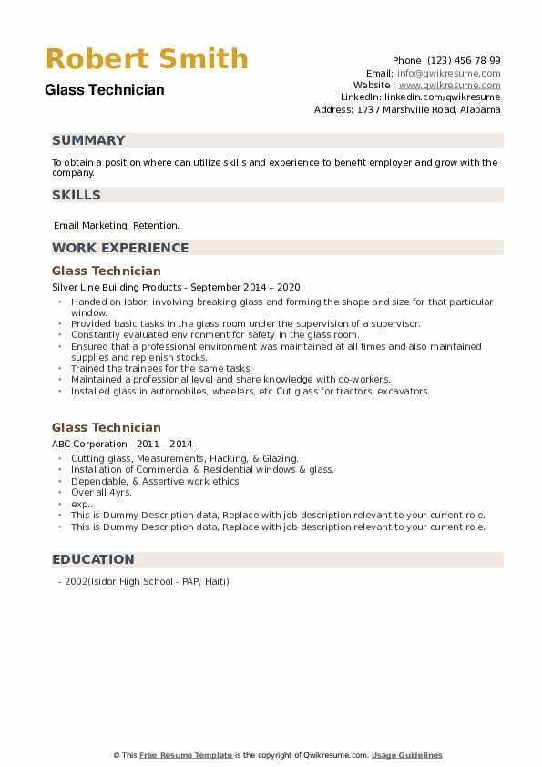 Glass Technician Resume example