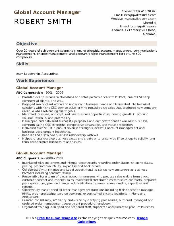 Global Account Manager Resume Model