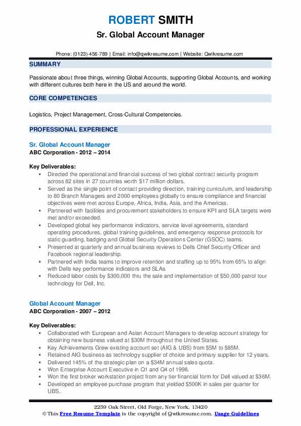 Sr. Global Account Manager Resume Example